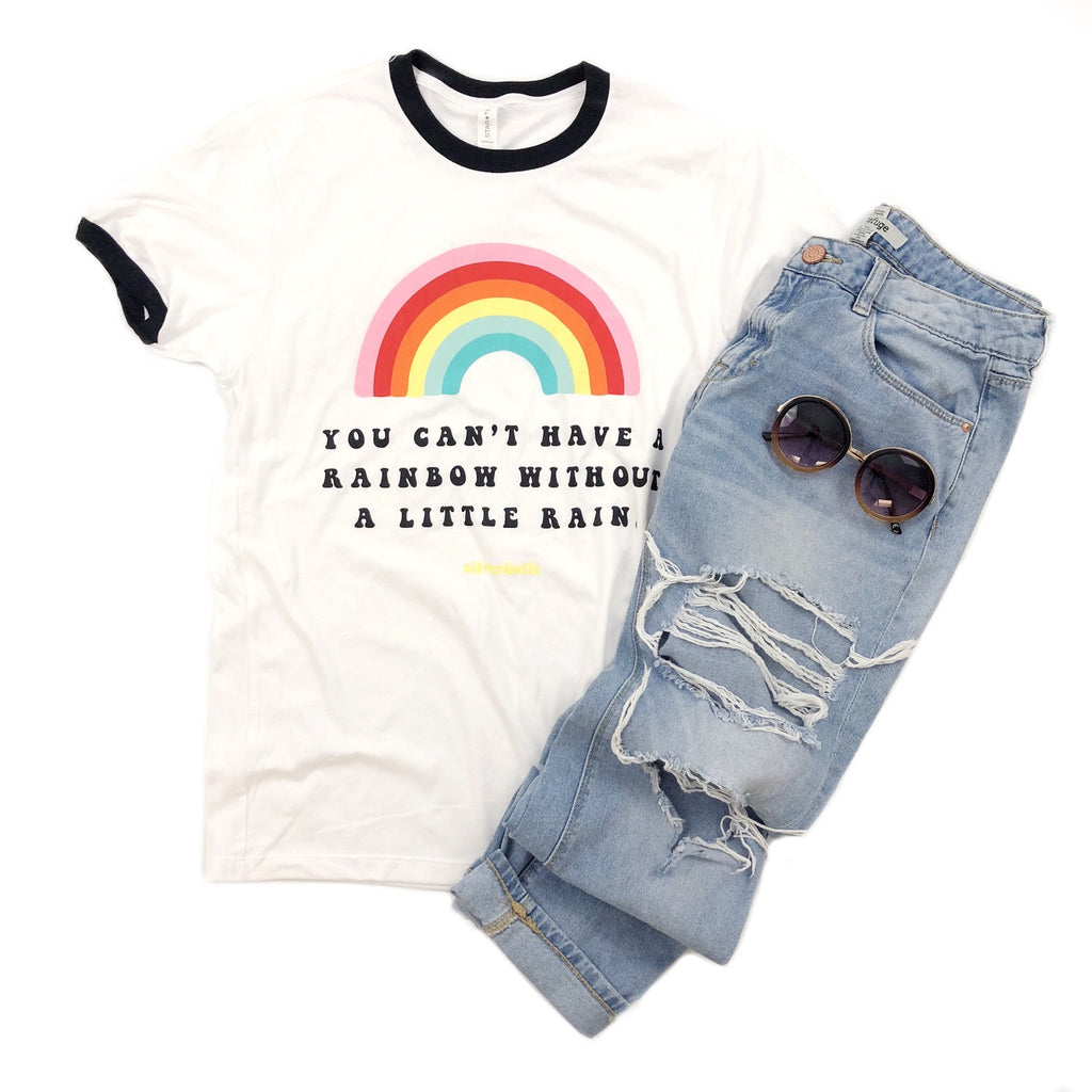 Can't have a Rainbow without Rain Tee || Unisex-Bohemian, Cotton, Poly, Rainbow, Retro, Vintage-Womens Artisan USA American Made Clothing Accessories