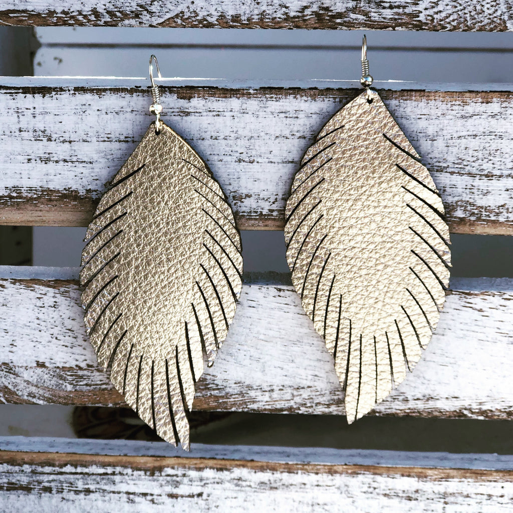 Laser Feather Leather Earrings {Reg}--Womens Artisan USA American Made Clothing Accessories