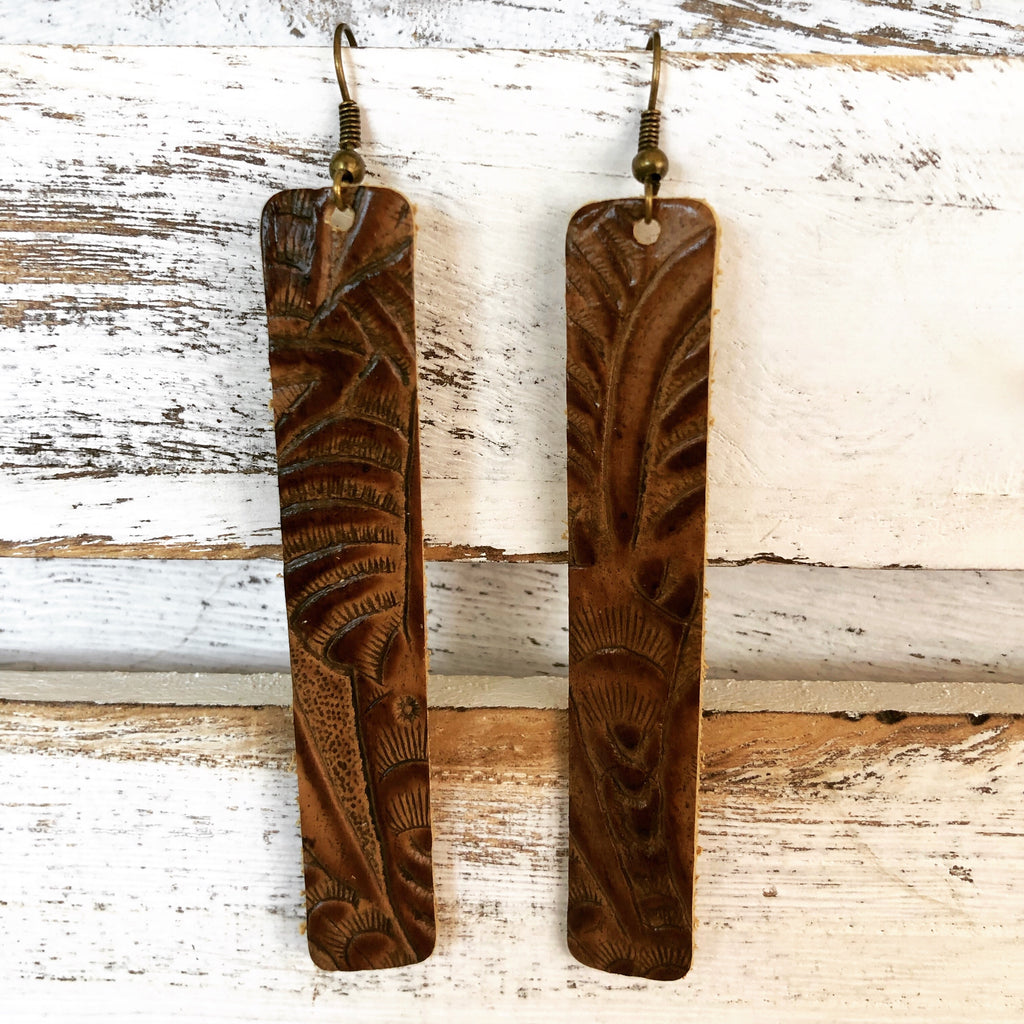 Leather Tooled Bar Earrings-accessories, earrings, jewelry-Womens Artisan USA American Made Clothing Accessories
