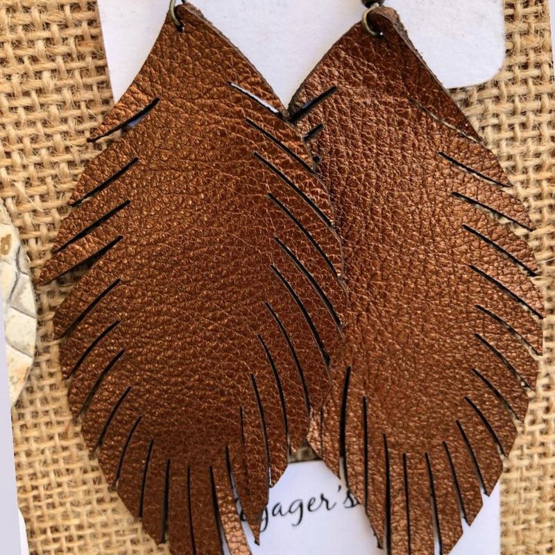 Laser Feather Leather Earrings {Reg}-accessories, earrings, jewelry-Womens Artisan USA American Made Clothing Accessories