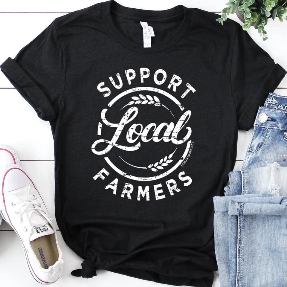 Support Local Farmers Crew Tee Black