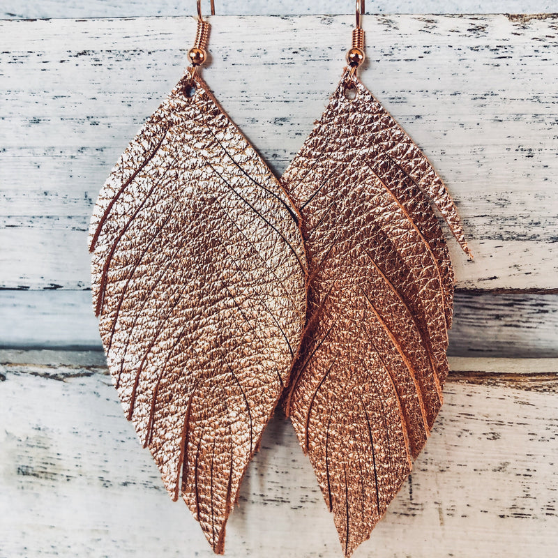 Raw Feather Leather Earrings-accessories, BFPRESALE2020, earrings, jewelry-Womens Artisan USA American Made Clothing Accessories