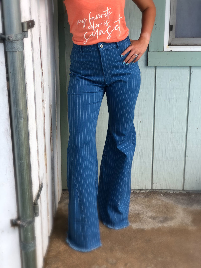 Cotton Blue Pinstripe Bell Trousers--Womens Artisan USA American Made Clothing Accessories