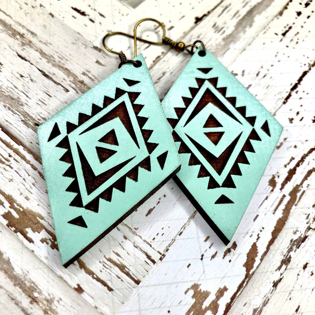Grace Turquoise Diamond Wood Earrings-Artisan Made, Earrings, Turquiose, Wooden Earrings-Womens Artisan USA American Made Clothing Accessories