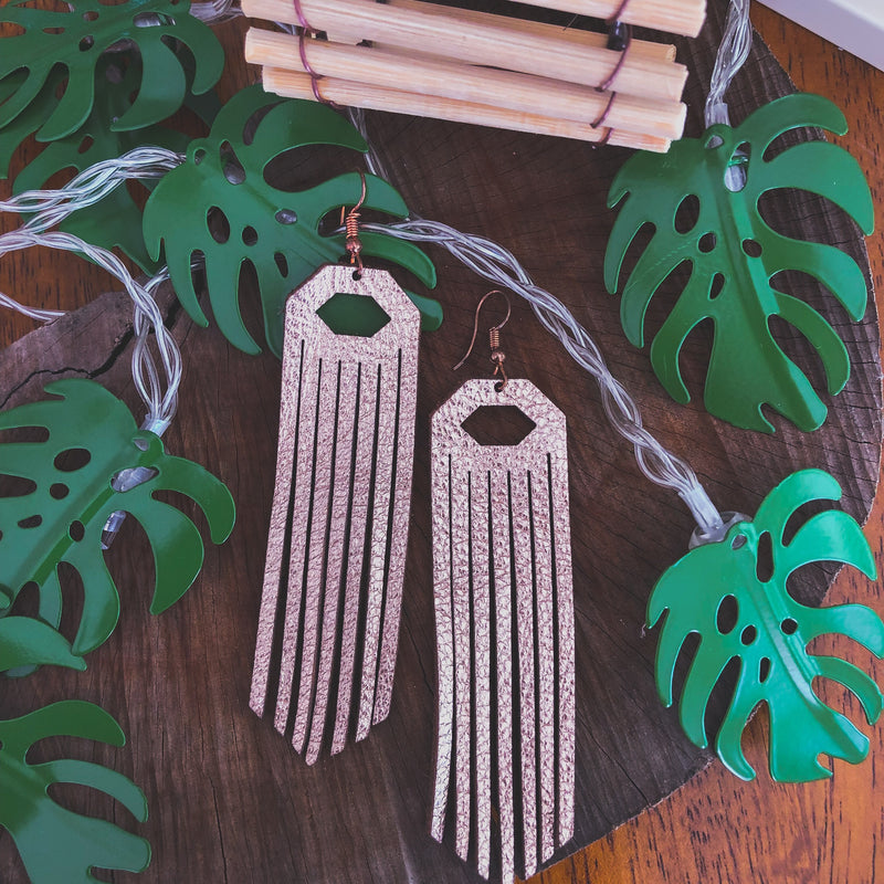 Laser Leather Fringe Earrings-accessories, earrings, jewelry-Womens Artisan USA American Made Clothing Accessories