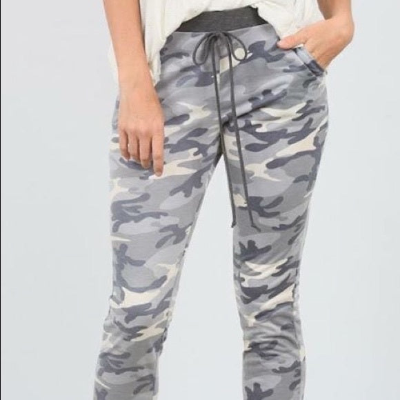 Camo Elastic Joggers-camo, camo joggers, joggers, lounge wear, Made in the USA-Small-Womens Artisan USA American Made Clothing Accessories
