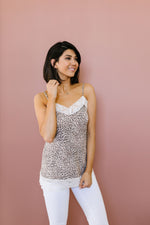 Lace Trimmed Knit Cami In Leopard-1XL, 2XL, 3XL, 6-16-2020, 6-26-2020, BFCM2020, Bonus, Final Few Friday, Group A, Group B, Group C, Group D, Group T, Large, Made in the USA, Medium, Plus, Small, Tops, XL, XS-Womens Artisan USA American Made Clothing Accessories