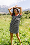 Later Skater T-shirt Dress With Hot Pink Trim-1XL, 2XL, 3XL, 7-23-2020, 7-31-2020, Bonus, Dresses, Final Few Friday, Group A, Group B, Group C, Large, Medium, Plus, Small, XL, XS-Womens Artisan USA American Made Clothing Accessories