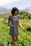 Later Skater T-shirt Dress With Hot Pink Trim-1XL, 2XL, 3XL, 7-23-2020, 7-31-2020, BFCM2020, Bonus, Dresses, Final Few Friday, Group A, Group B, Group C, Group D, Large, Medium, Plus, Small, XL, XS-Womens Artisan USA American Made Clothing Accessories