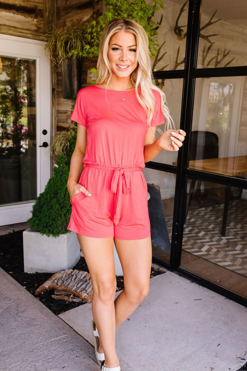 Laurel Coral Romper-1XL, 2XL, 3XL, 5-26-2020, 6-5-2020, BFCM2020, Bonus, Bottoms, FeaturedJan21, Final Few Friday, Group A, Group B, Group C, Group D, Group T, Large, Medium, Plus, Small, XL, XS-Womens Artisan USA American Made Clothing Accessories