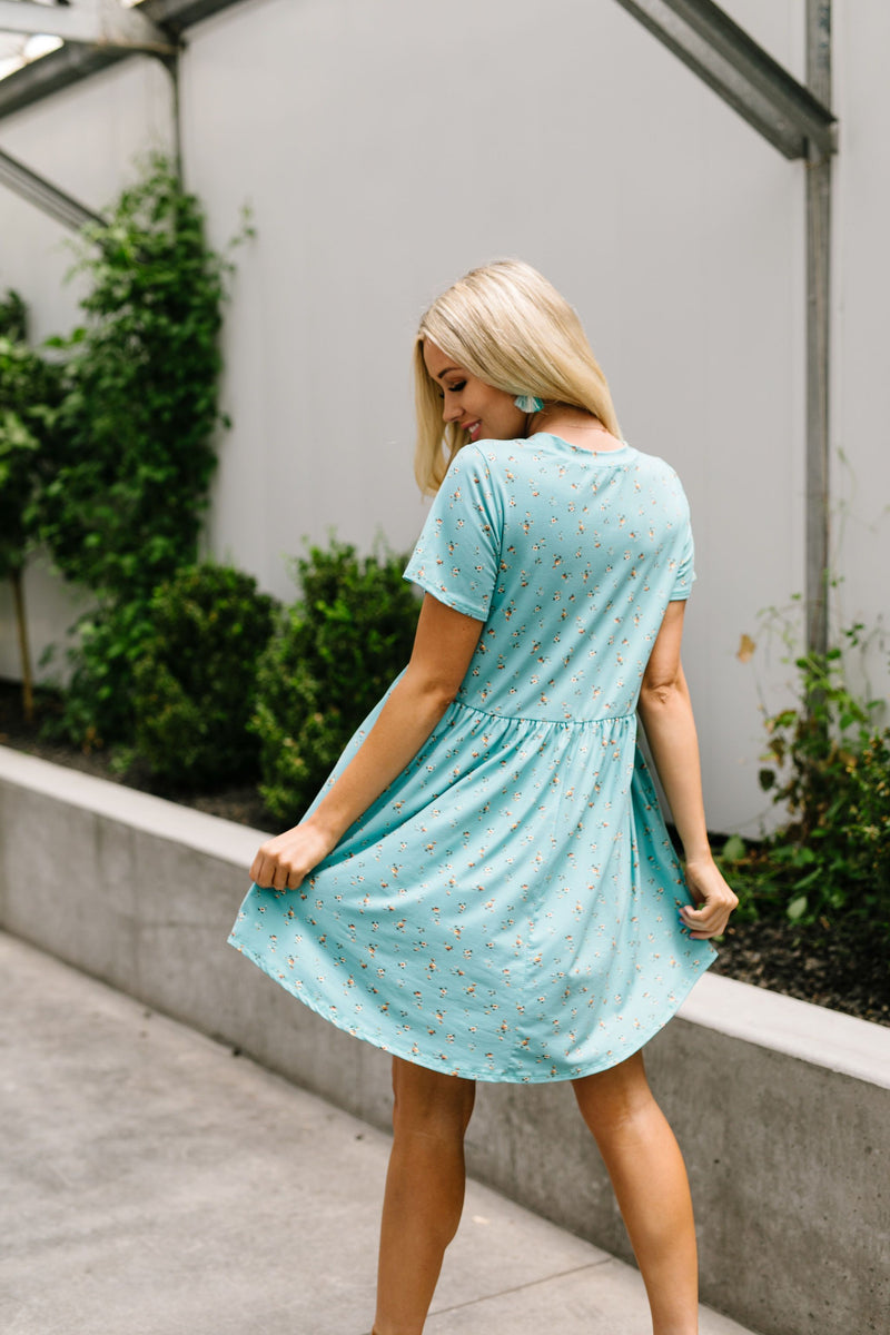 Little Sweetie Floral Dress In Aqua-1XL, 2XL, 3XL, 6-30-2020, 7-10-2020, Bonus, Dresses, Group A, Group B, Group C, Large, Medium, Plus, Small, XL, XS-Womens Artisan USA American Made Clothing Accessories