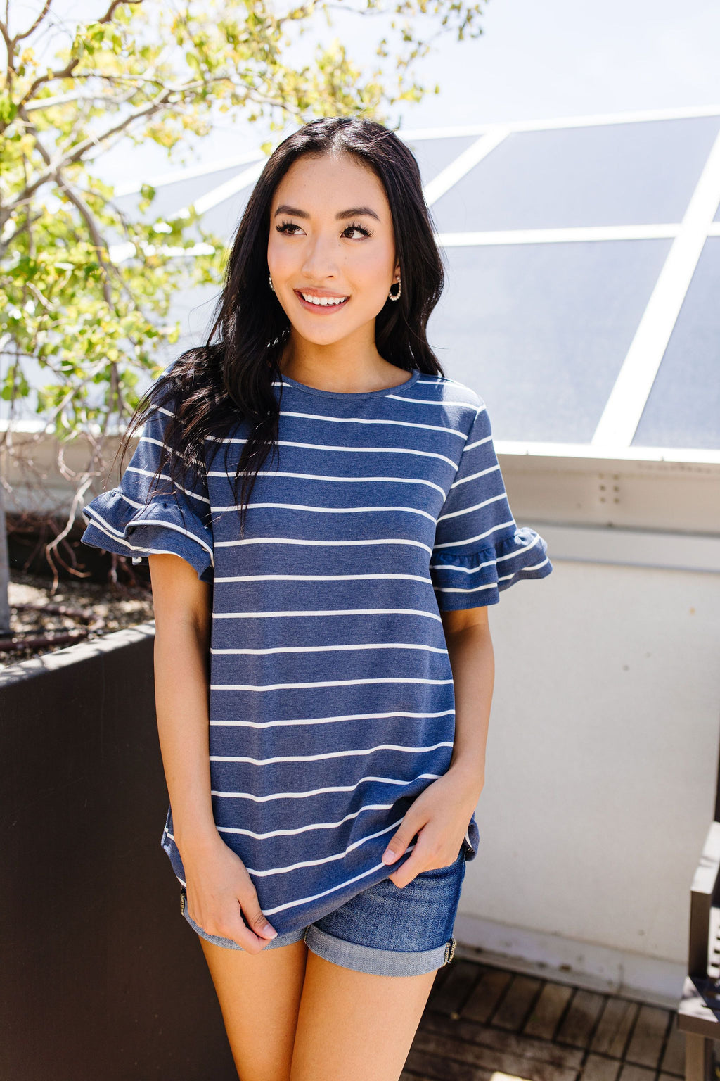 Make It A Double Striped Top-1XL, 2XL, 3XL, 4TH2020, 6-23-2020, 7-3-2020, Bonus, Group A, Group B, Group C, Large, Medium, Plus, Small, Tops, XL, XS-Womens Artisan USA American Made Clothing Accessories