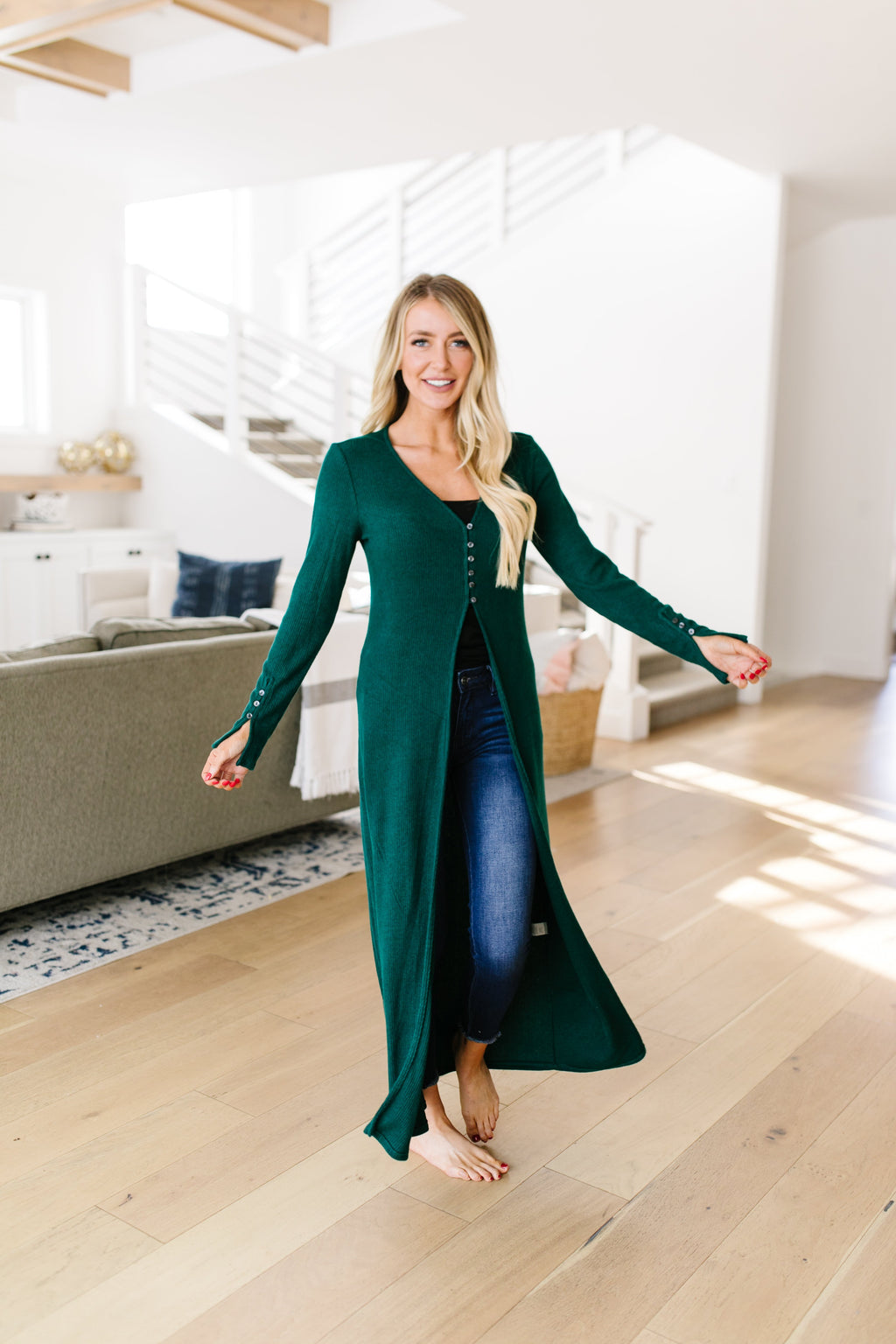 Maxi Cardi In Hunter Green-1-23-2020, BFCM2020, Final Few Friday, Group A, Group B, Group C, Plus, Sync, Tops-Womens Artisan USA American Made Clothing Accessories