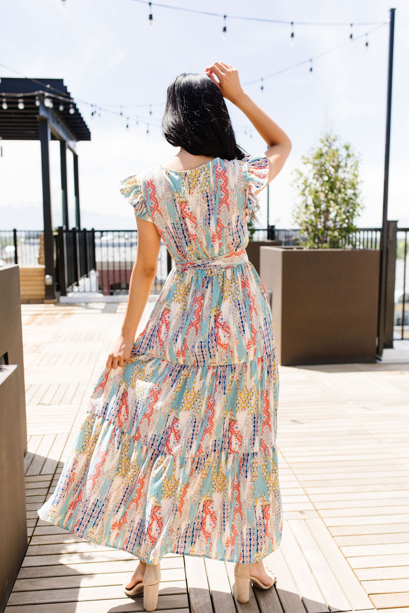 Meandering Patterns Maxi Dress-1XL, 2XL, 3XL, 6-25-2020, 7-3-2020, BFCM2020, Bonus, Dresses, Final Few Friday, Group A, Group B, Group C, Group D, Large, Medium, Plus, Small, XL, XS-Womens Artisan USA American Made Clothing Accessories