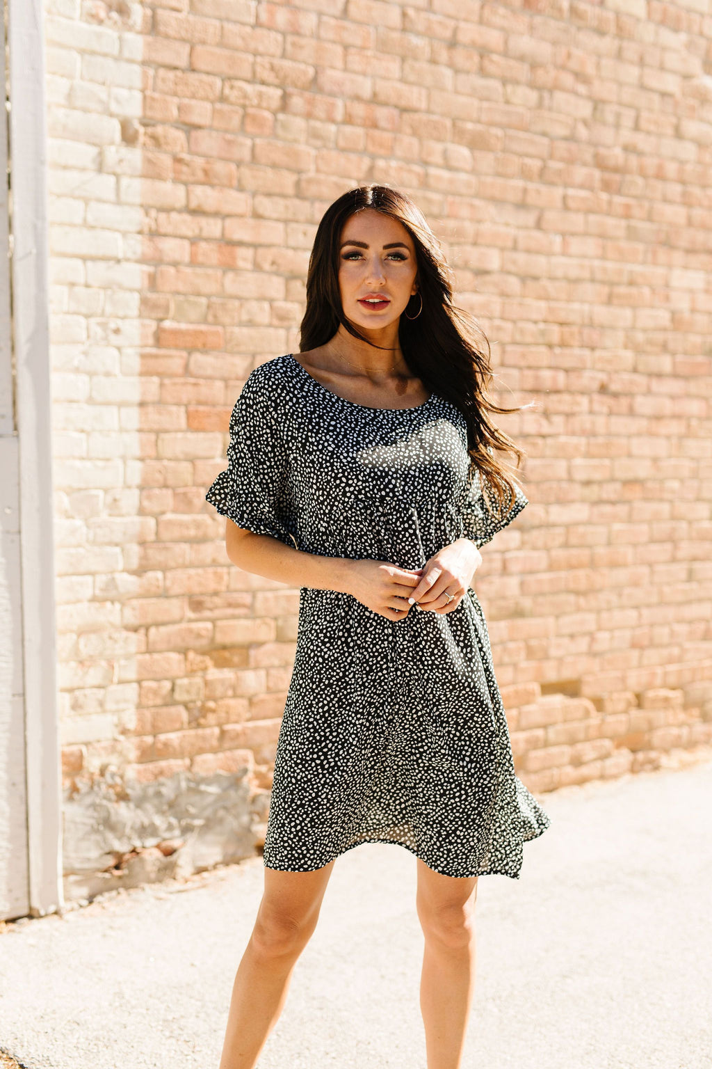 Mini Spots Ruffle Sleeve Dress-1XL, 2XL, 8-27-2020, BFCM2020, Dresses, Group A, Group B, Group C, Group D, Group T, Large, Medium, Plus, Small, Warehouse Sale, XL-Womens Artisan USA American Made Clothing Accessories