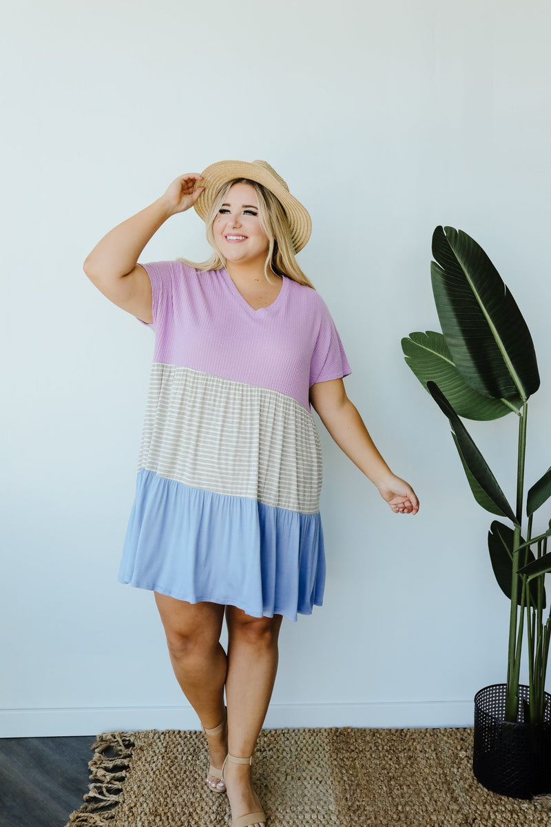 Mix It Up Tiered Colorblock Dress-1XL, 2XL, 3XL, 7-16-2020, 7-24-2020, Bonus, Dresses, Final Few Friday, Group A, Group B, Group C, Large, Medium, Plus, Small-Womens Artisan USA American Made Clothing Accessories