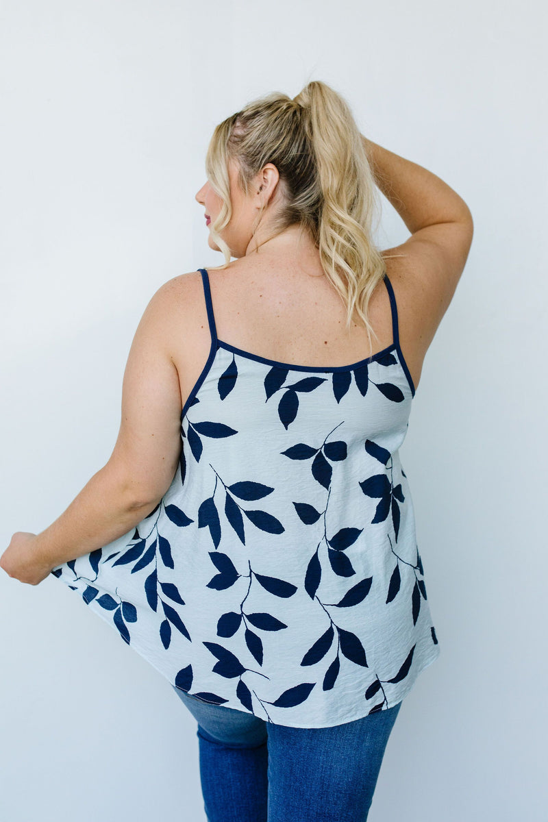New Leaf Cami In Blue-1XL, 2XL, 3XL, 8-11-2020, Group A, Group B, Group C, Large, Medium, Plus, Small, Tops, XL, XS-Womens Artisan USA American Made Clothing Accessories