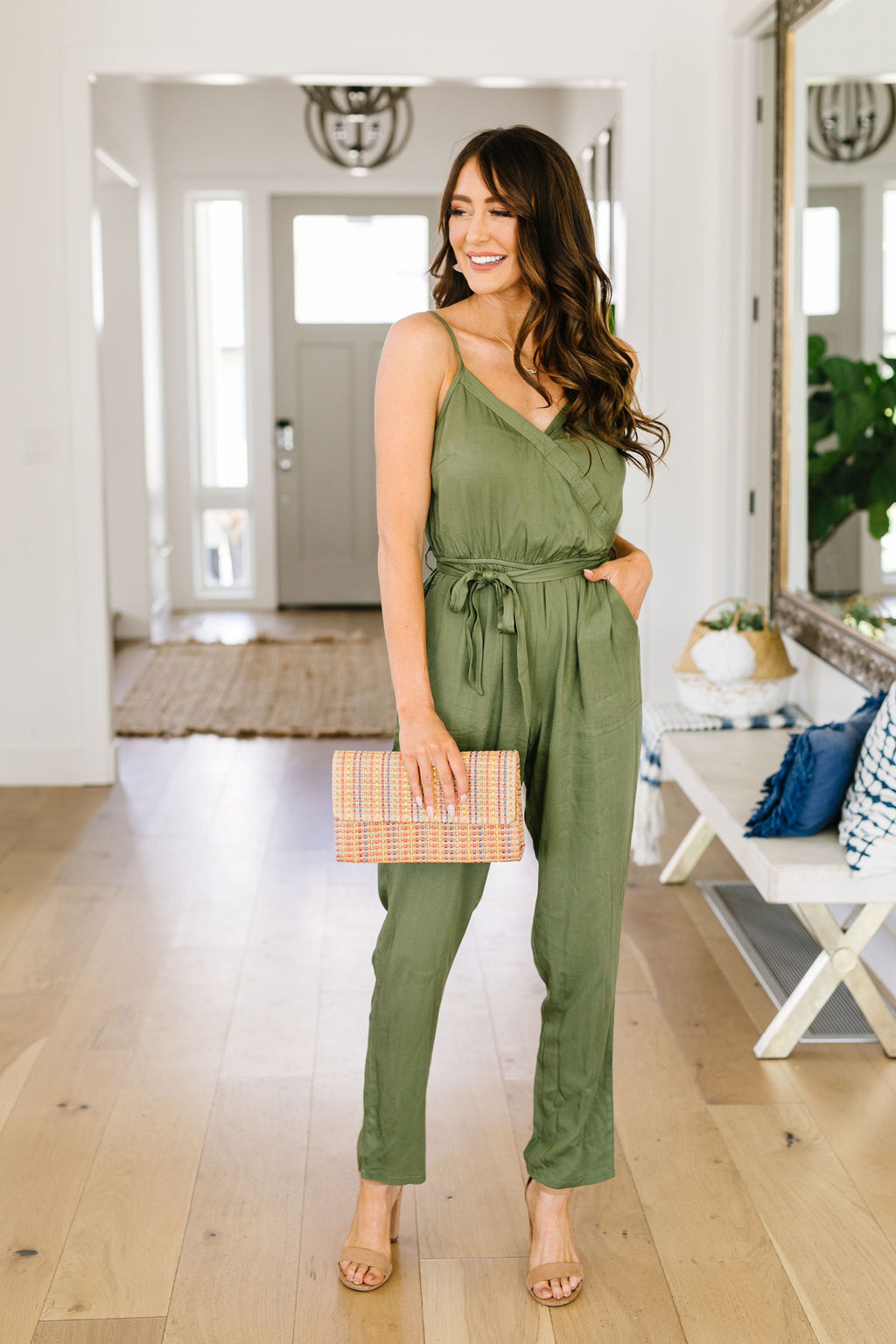 No Surprise Surplice Olive Jumpsuit-4TH2020, 6-19-2020, 6-9-2020, Bonus, Bottoms, Group A, Group B, Group C, L/XL, Large, Medium, Small, XS-Womens Artisan USA American Made Clothing Accessories