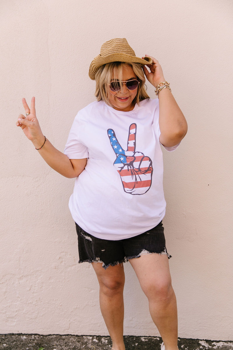 Peace In America Graphic Tee-2XL, 3XL, 5-7-2020, Bonus-5/15/20, Final Few Friday, Group A, Group B, Group C, Large, Medium, Plus, Small, Tops, XL, XS-Womens Artisan USA American Made Clothing Accessories