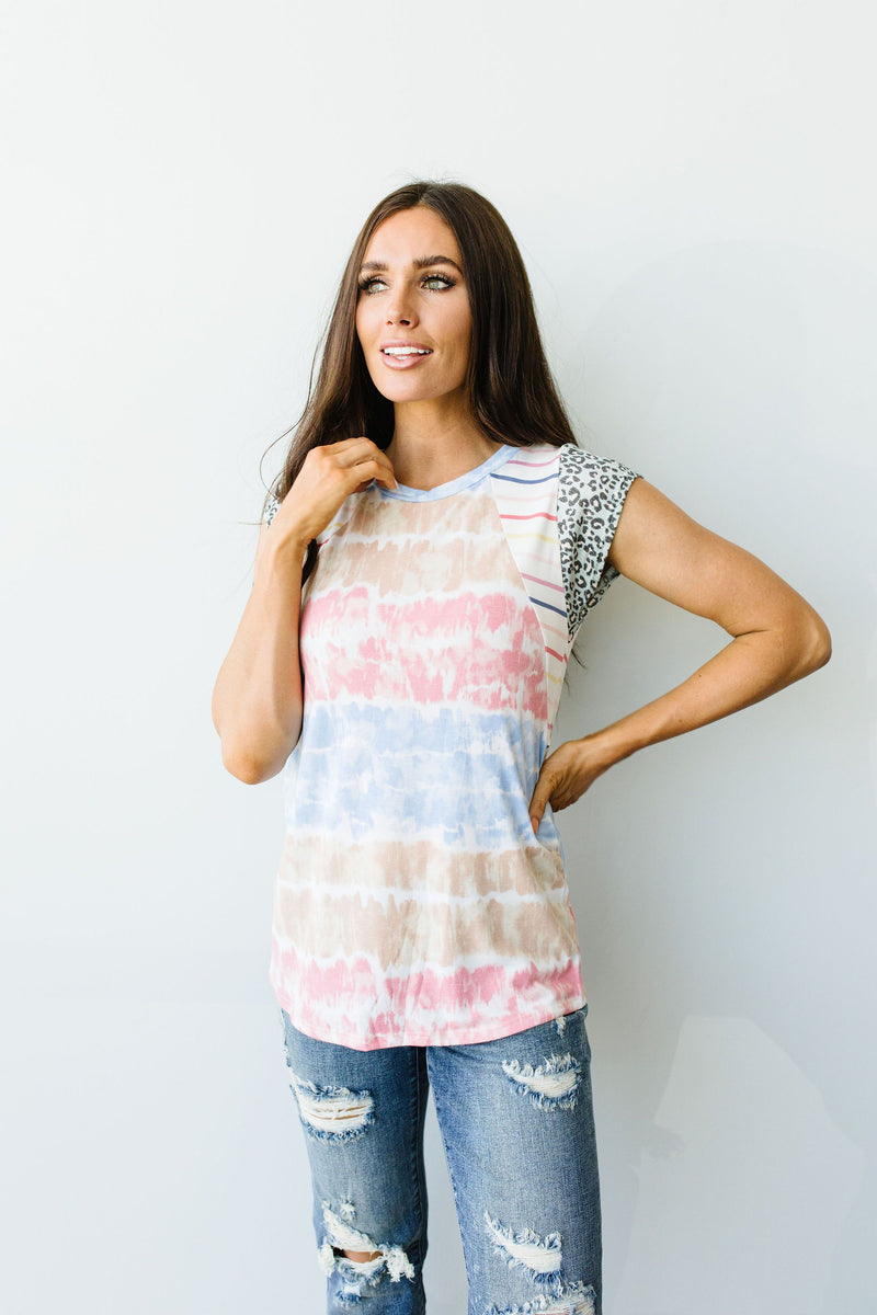 Pieced Together Tie Dye Top-1XL, 2XL, 3XL, 7-30-2020, Group A, Group B, Group C, Group D, Large, Medium, Plus, Small, Tops, XL, XS-Womens Artisan USA American Made Clothing Accessories