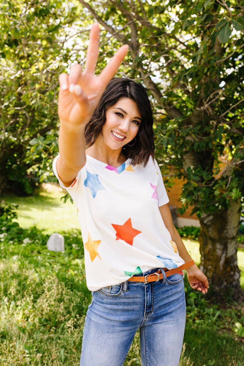 Rainbow Star V-Neck-1XL, 2XL, 3XL, 7-23-2020, 7-31-2020, BFCM2020, Bonus, Group A, Group B, Group C, Group D, Large, Medium, Plus, Small, Tops, XL, XS-Womens Artisan USA American Made Clothing Accessories