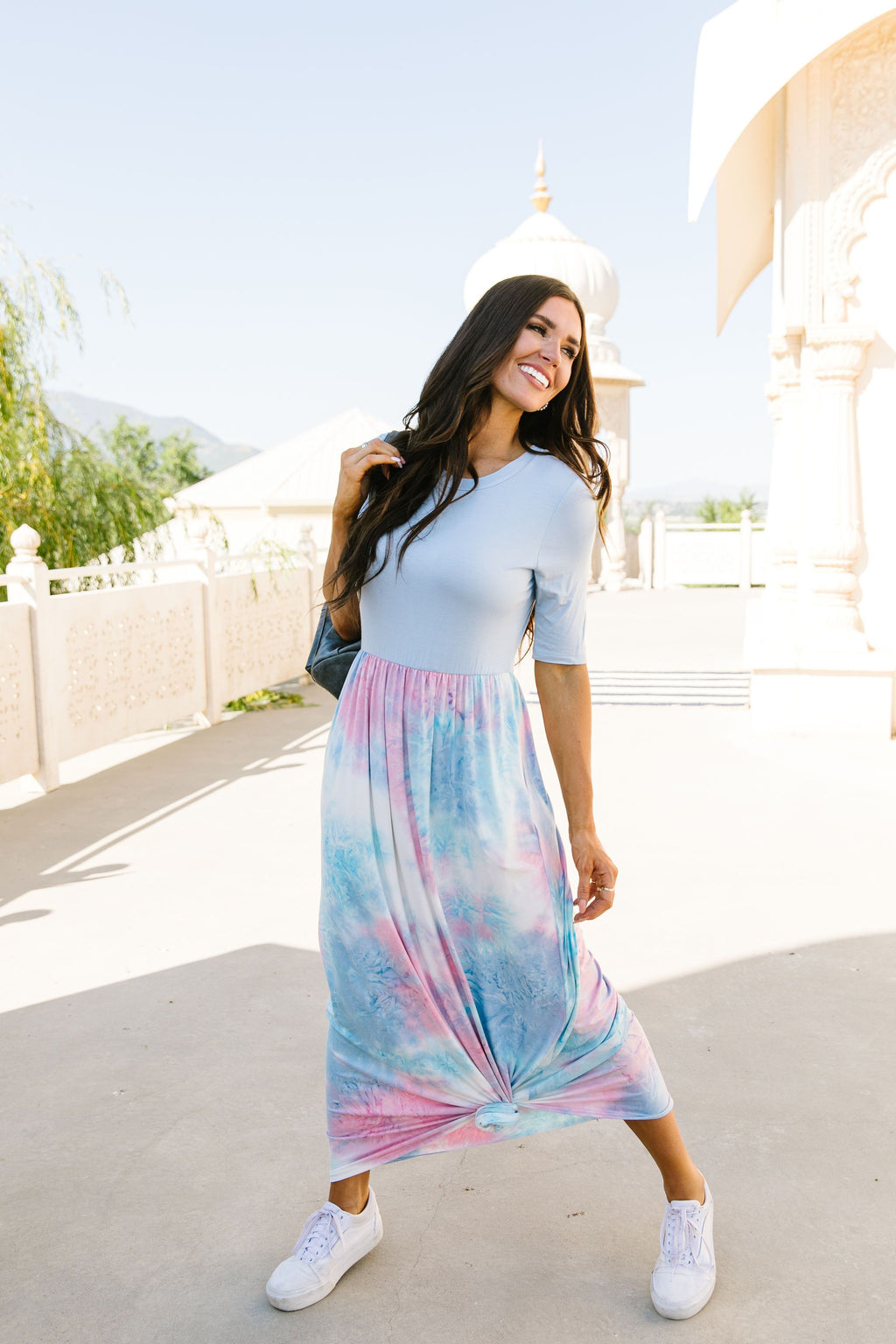 Santa Ana Tie Dye Maxi In Blue-1XL, 2XL, 3XL, 7-21-2020, 7-31-2020, Bonus, Dresses, Group A, Group B, Group C, Large, Medium, Plus, Small-Womens Artisan USA American Made Clothing Accessories