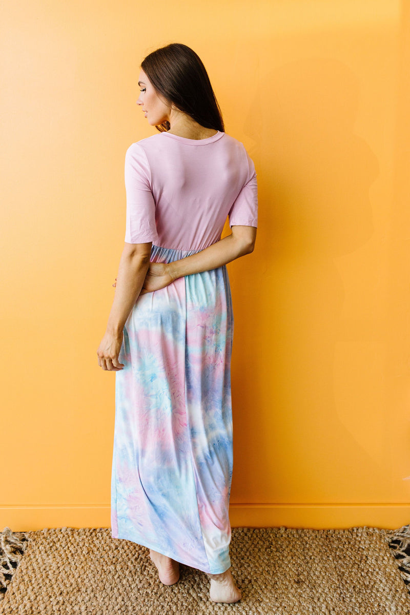 Santa Ana Tie Dye Maxi In Pink-1XL, 2XL, 3XL, 7-21-2020, 7-31-2020, Bonus, Dresses, Group A, Group B, Group C, Large, Medium, Plus, Small-Womens Artisan USA American Made Clothing Accessories