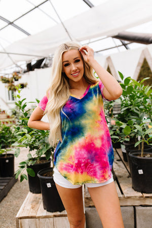 Sapphire Tie Dye Fantasy Top-1XL, 2XL, 3XL, 6-30-2020, 7-10-2020, Bonus, Group A, Group B, Group C, Large, Medium, Plus, Small, Tops, XL, XS-Womens Artisan USA American Made Clothing Accessories