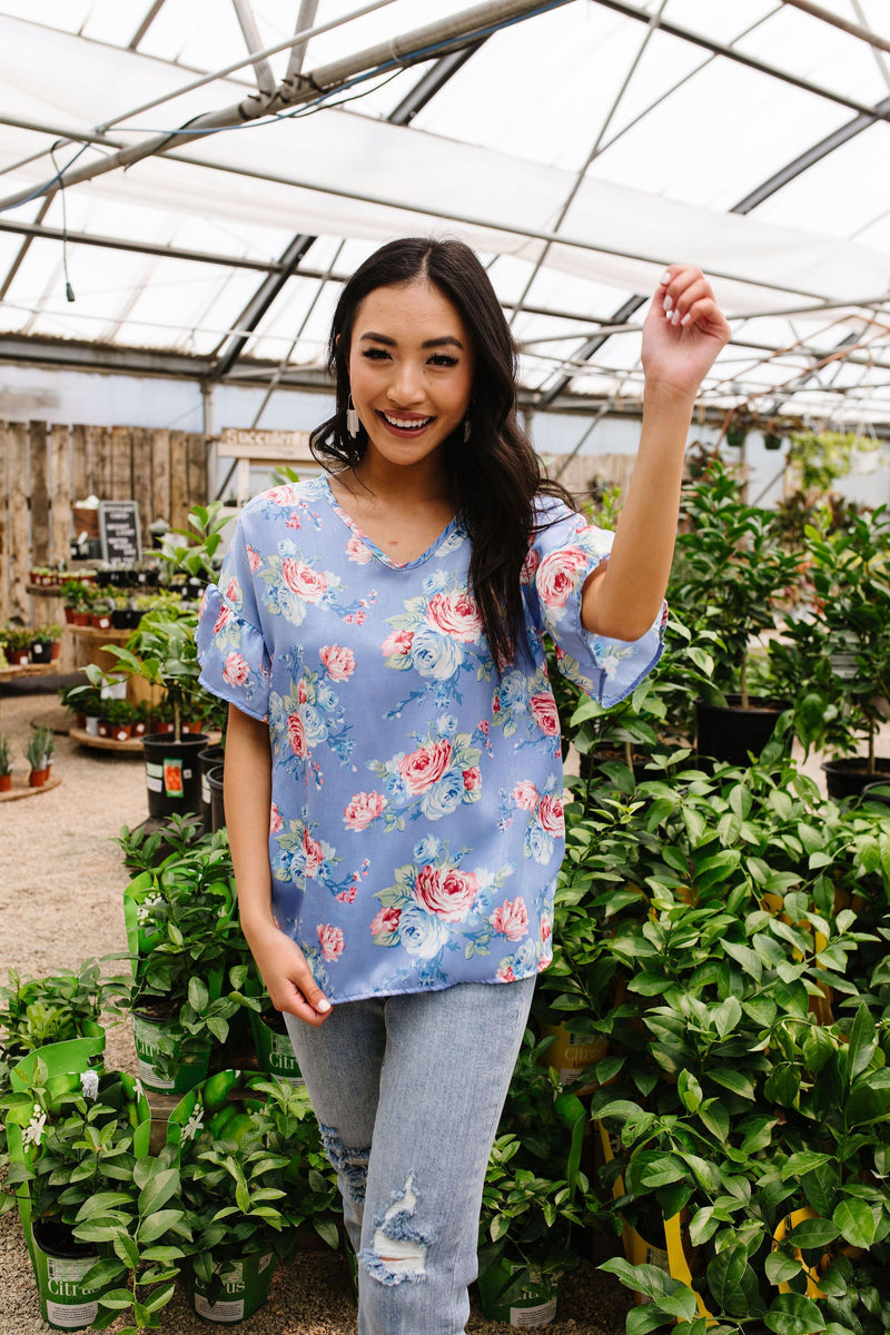 Satin Rose Blouse In Blue-1XL, 2XL, 3XL, 7-10-2020, 7-2-2020, BFCM2020, Bonus, Group A, Group B, Group C, Group D, Large, Medium, Plus, Small, Tops, Warehouse Sale, XL, XS-Womens Artisan USA American Made Clothing Accessories