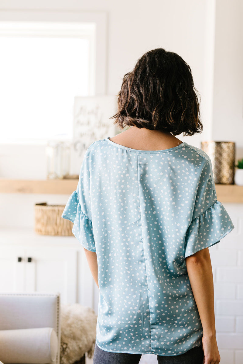 Silky Spots Ruffle Sleeve Blouse In Sky Blue-3-12-2020, BFCM2020, Group A, Group B, Group C, Plus, Sync, Tops, Warehouse Sale-Womens Artisan USA American Made Clothing Accessories