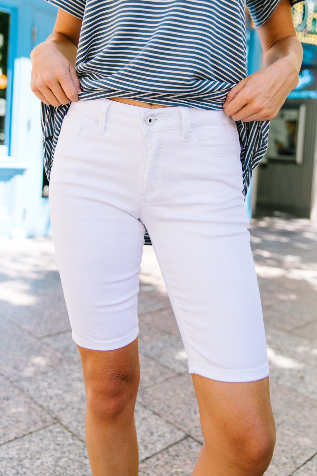 St. George White Bermuda Shorts-Bottoms, Shorts-Womens Artisan USA American Made Clothing Accessories