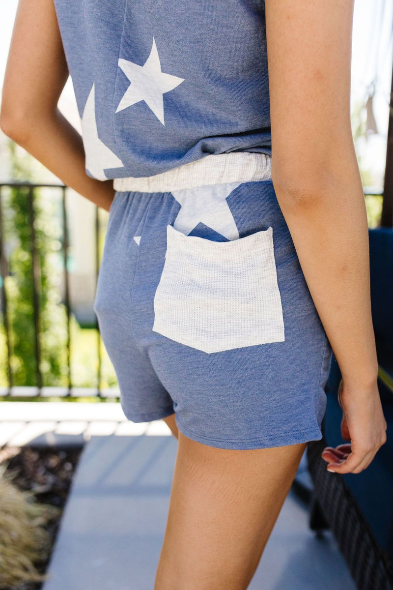 Star Player Shorts In Blue-1XL, 2XL, 3XL, 6-25-2020, Bottoms, Group A, Group B, Group C, Large, Medium, Plus, Small, Warehouse Sale, XL, XS-Womens Artisan USA American Made Clothing Accessories