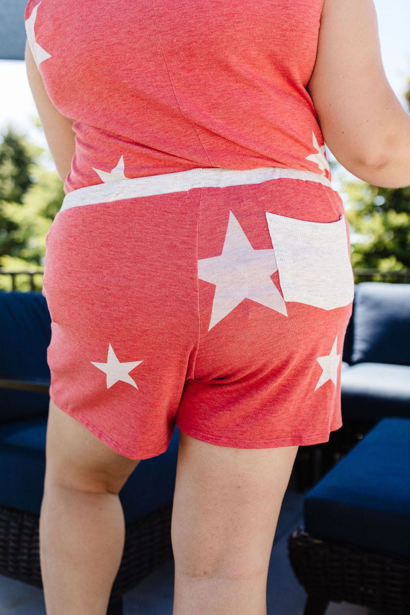 Star Player Shorts In Red-1XL, 2XL, 3XL, 6-25-2020, Bottoms, Group A, Group B, Group C, Large, Medium, Plus, Small, XL, XS-Womens Artisan USA American Made Clothing Accessories
