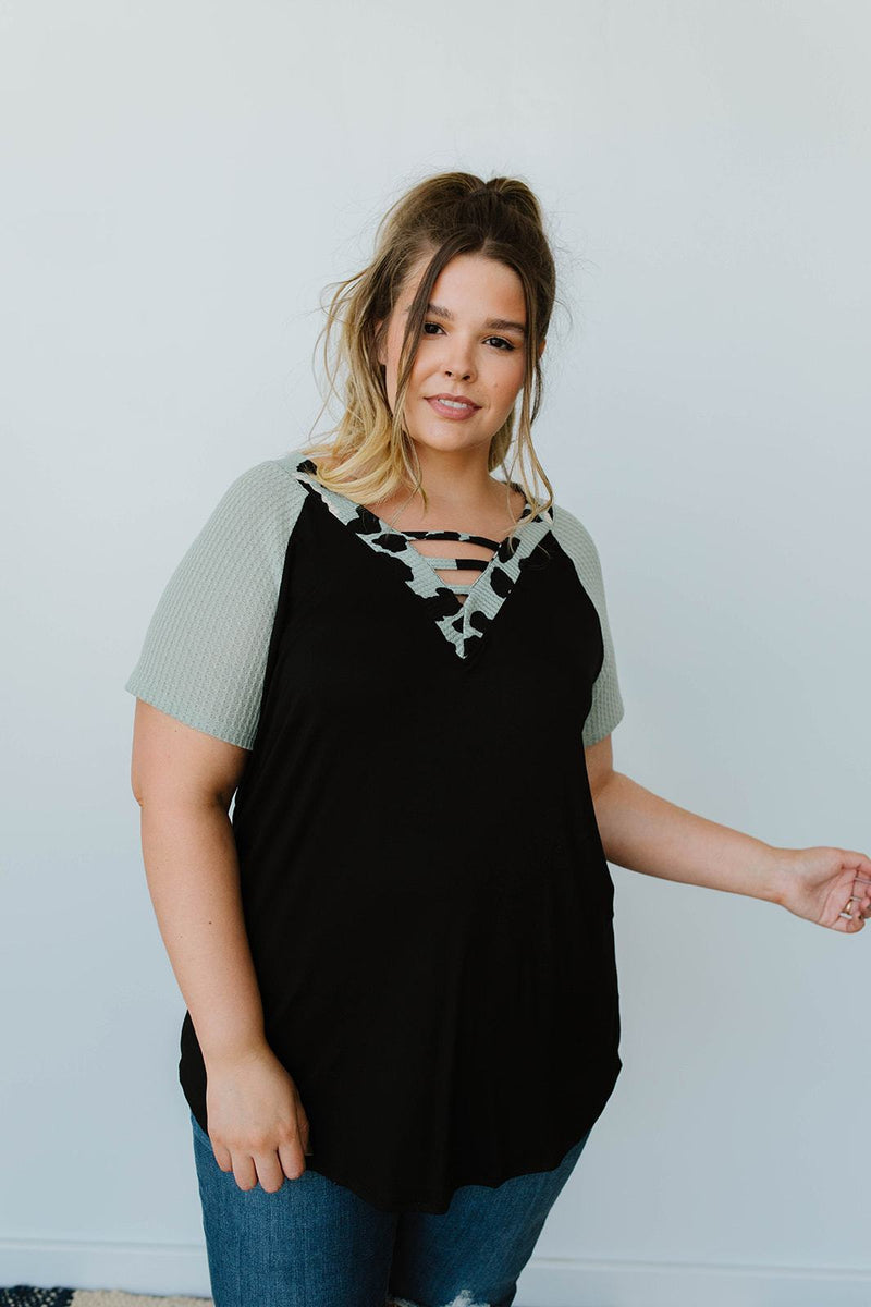 Strappy & Spotty V Top In Sage-1XL, 2XL, 3XL, 8-12-2020, 8-4-2020, Bonus, Group A, Group B, Group C, Large, Medium, Plus, Small, Tops, Warehouse Sale, XL, XS-Womens Artisan USA American Made Clothing Accessories
