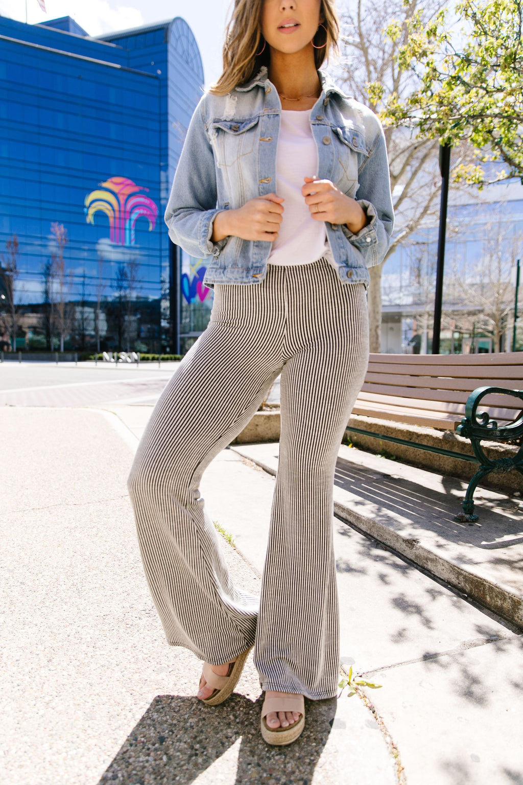 Striped Knit Bell Bottoms-1XL, 2XL, 3XL, 5-5-2020, Bottoms, Group B, Large, Medium, Plus, Small-Womens Artisan USA American Made Clothing Accessories