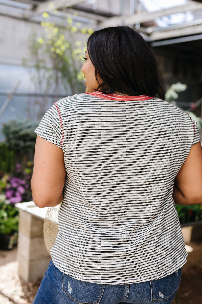 Striped Ringer Tee-1XL, 2XL, 3XL, 5-12-2020, Group A, Group B, Group C, Group D, Group T, Large, Medium, Plus, Small, Tops, XL, XS-Womens Artisan USA American Made Clothing Accessories