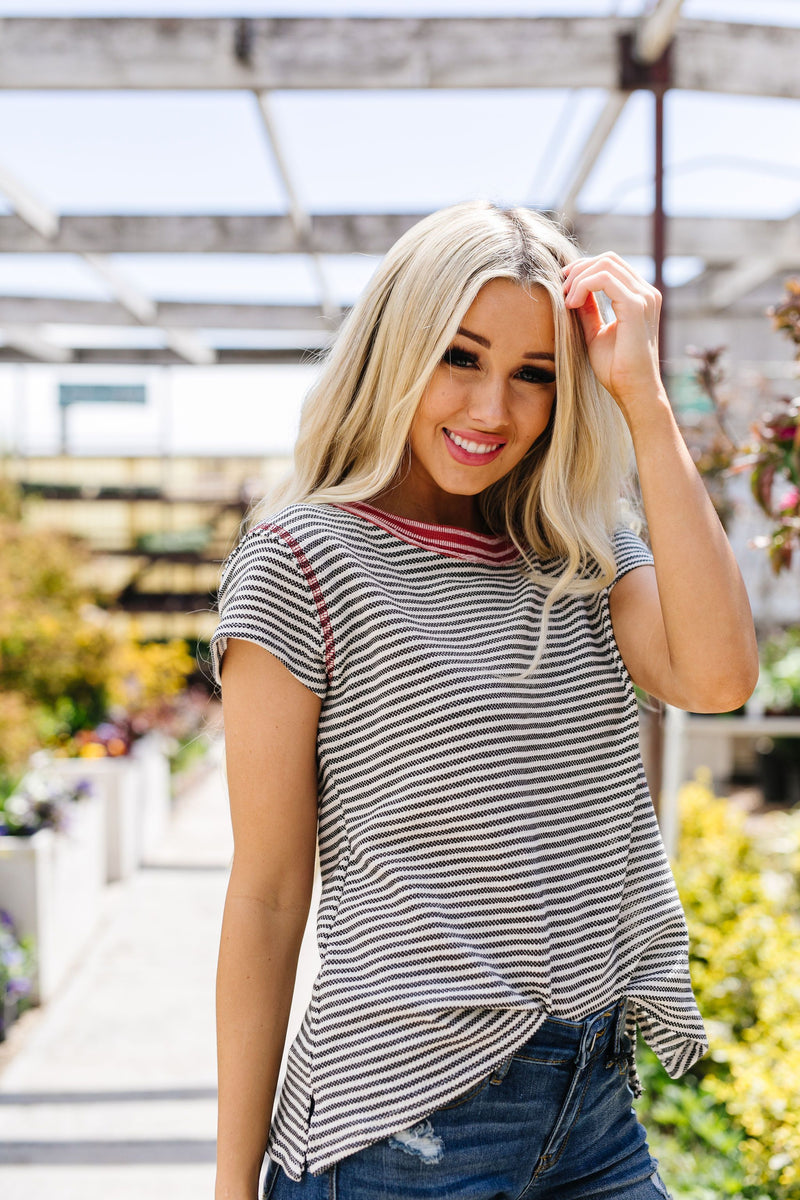 Striped Ringer Tee-1XL, 2XL, 3XL, 5-12-2020, Final Few Friday, Group A, Group B, Group C, Group D, Group T, Large, Made in the USA, Medium, Plus, Small, Tops, XL, XS-Womens Artisan USA American Made Clothing Accessories