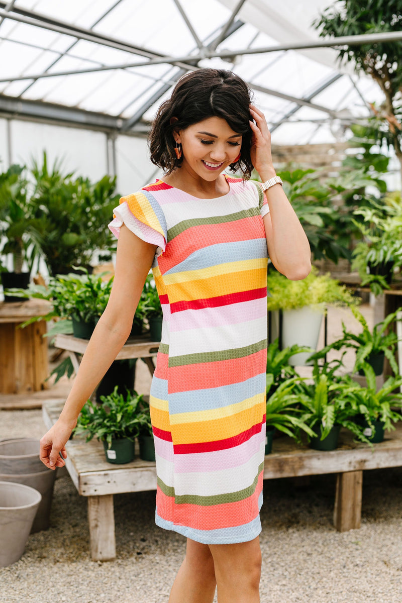 Summer Stripes Waffle Knit Dress-1XL, 2XL, 3XL, 5-14-2020, 5-22-2020, BFCM2020, Bonus, Dresses, Final Few Friday, Group A, Group B, Group C, Group D, Large, Made in the USA, Medium, Plus, Small, XL, XS-Womens Artisan USA American Made Clothing Accessories