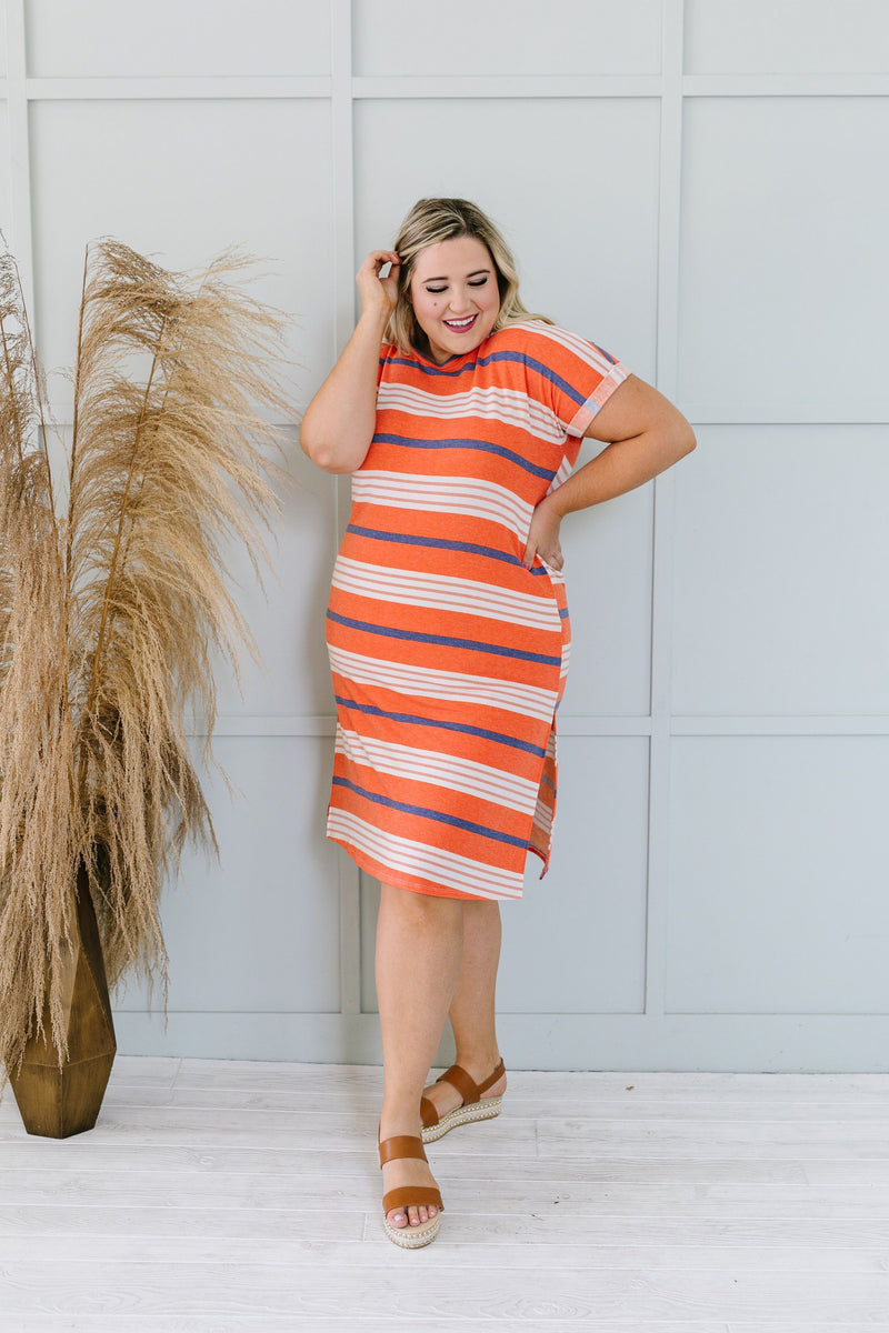 Sunny Day Striped T-Shirt Dress In Orange-1XL, 2XL, 3XL, 6-12-2020, 6-2-2020, Bonus, Dresses, Group A, Group B, Group C, Group D, Large, Medium, Plus, Small, XL, XS-Womens Artisan USA American Made Clothing Accessories