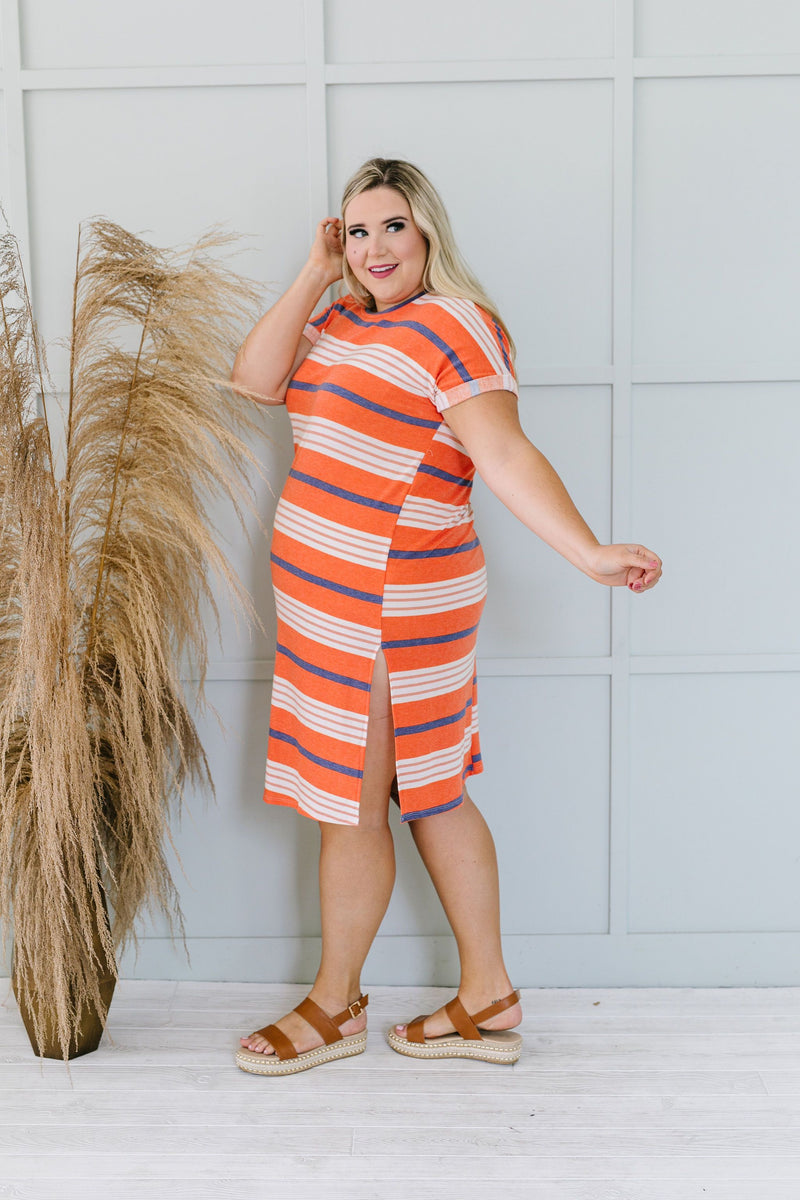 Sunny Day Striped T-Shirt Dress In Orange-1XL, 2XL, 3XL, 6-12-2020, 6-2-2020, BFCM2020, Bonus, Dresses, Group A, Group B, Group C, Group D, Large, Medium, Plus, Small, XL, XS-Womens Artisan USA American Made Clothing Accessories