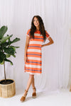 Sunny Day Striped T-Shirt Dress In Orange-1XL, 2XL, 3XL, 6-12-2020, 6-2-2020, Bonus, Dresses, Group A, Group B, Group C, Large, Medium, Plus, Small, XL, XS-Womens Artisan USA American Made Clothing Accessories