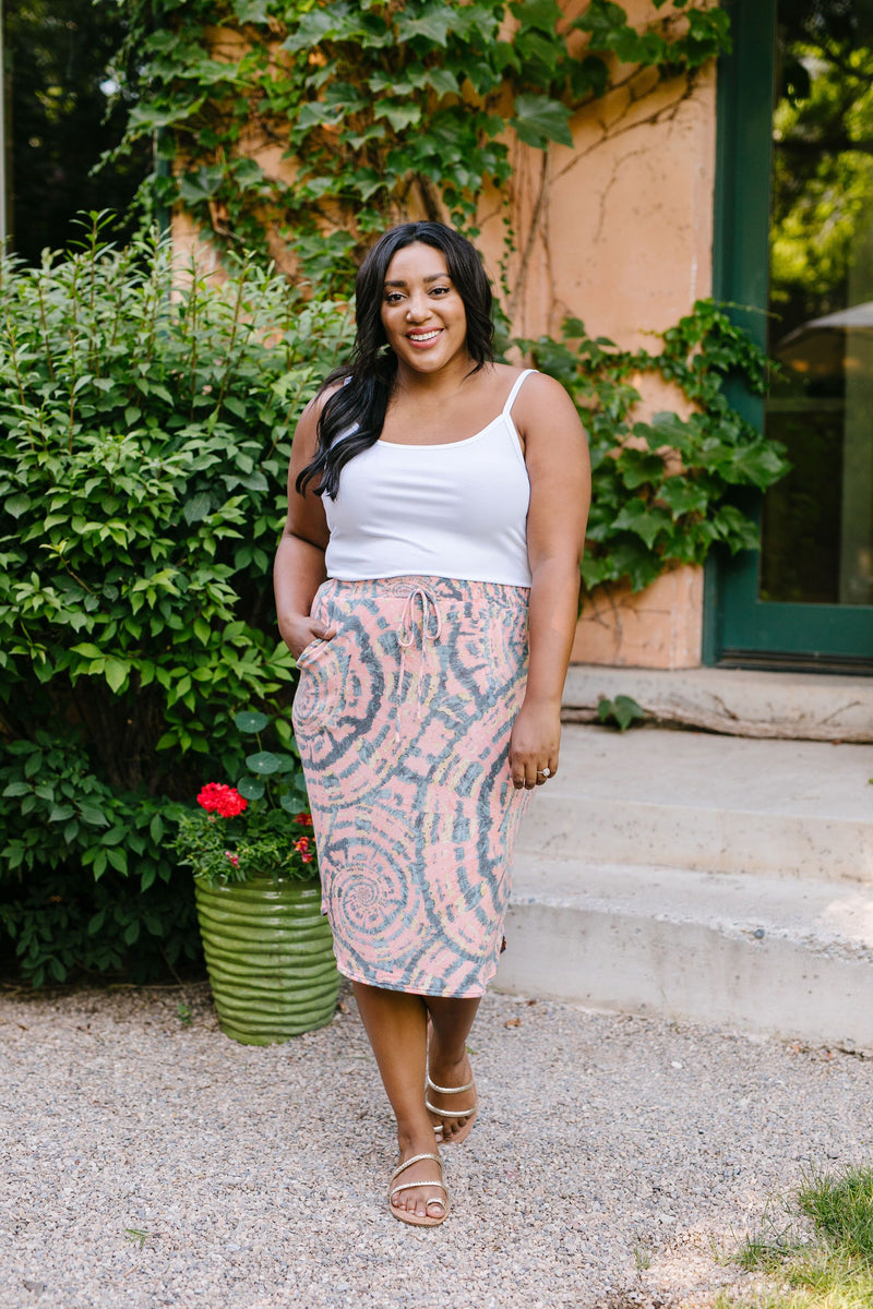 Swirl Power Drawstring Skirt-1XL, 2XL, 3XL, 8-13-2020, 8-21-2020, BFCM2020, Bonus, Bottoms, Group A, Group B, Group C, Group D, Large, Medium, Plus, Small, XL, XS-Womens Artisan USA American Made Clothing Accessories