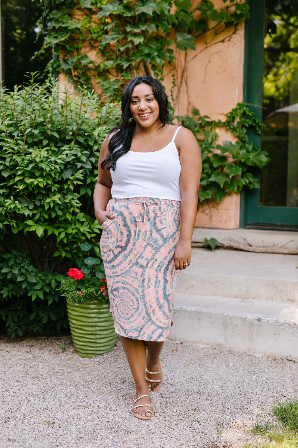 Swirl Power Drawstring Skirt - On Hand-1XL, 2XL, 3XL, 8-13-2020, 8-21-2020, BFCM2020, Bonus, Bottoms, Group A, Group B, Group C, Group D, Large, Made in the USA, Medium, Plus, Small, XL, XS-Medium-Womens Artisan USA American Made Clothing Accessories