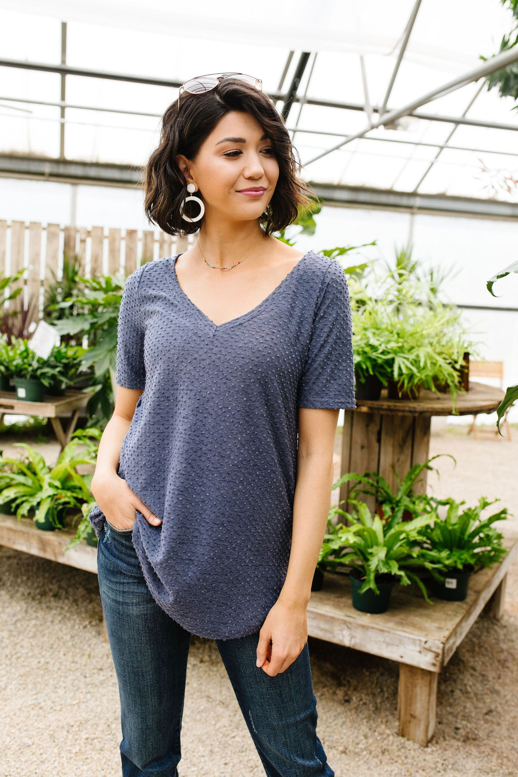 Swiss Dot V-Neck In Slate-5-14-2020, 5-22-2020, Bonus, Group A, Group B, Group C, Large, Medium, Small, Tops-Womens Artisan USA American Made Clothing Accessories