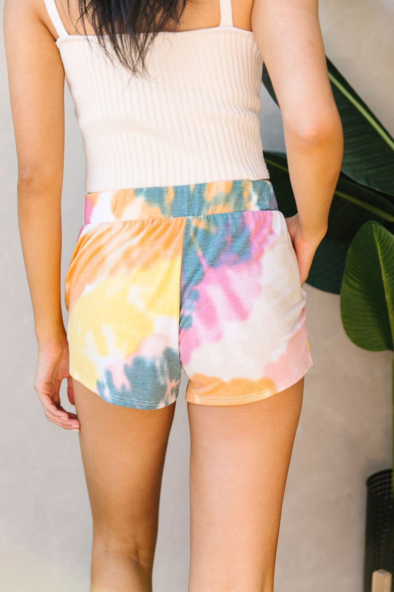 Tie Dye Swirls Shorts In Yellow-1XL, 2XL, 3XL, 7-14-2020, 7-24-2020, BFCM2020, Bonus, Bottoms, Group A, Group B, Group C, Group D, Group T, Large, Medium, Plus, Small, XL, XS-Womens Artisan USA American Made Clothing Accessories