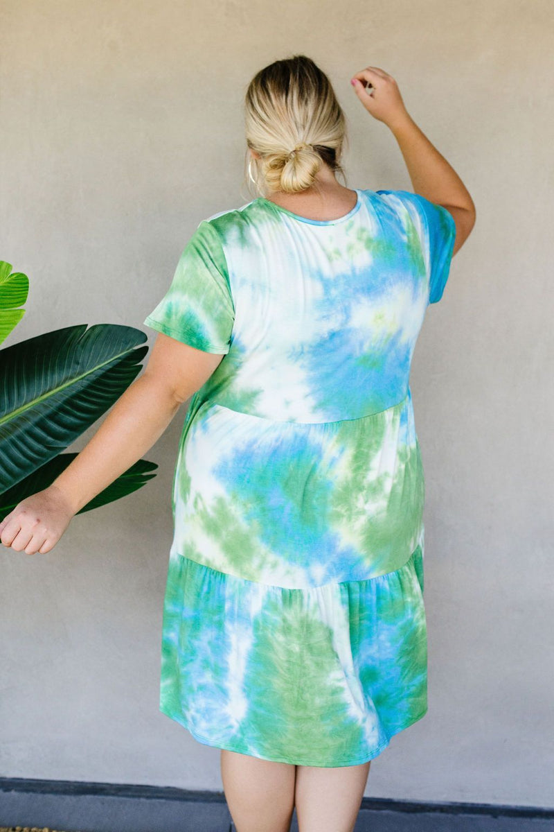 Tiered Tie Dye Dress In Turquoise & Green-1XL, 2XL, 3XL, 7-14-2020, 7-24-2020, BFCM2020, Bonus, Dresses, Group A, Group B, Group C, Group D, Large, Medium, Plus, Small, XL, XS-Womens Artisan USA American Made Clothing Accessories