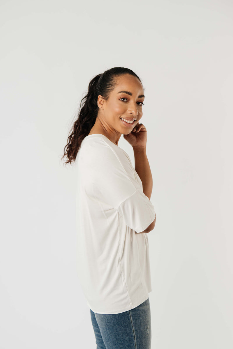 Top Stitch V-Neck In Off-White-1XL, 2XL, 3XL, 9-8-2020, BFCM2020, Group A, Group B, Group C, Group D, Group S, Large, Made in the USA, Medium, Plus, Small, Tops, Warehouse Sale, XL, XS-Womens Artisan USA American Made Clothing Accessories