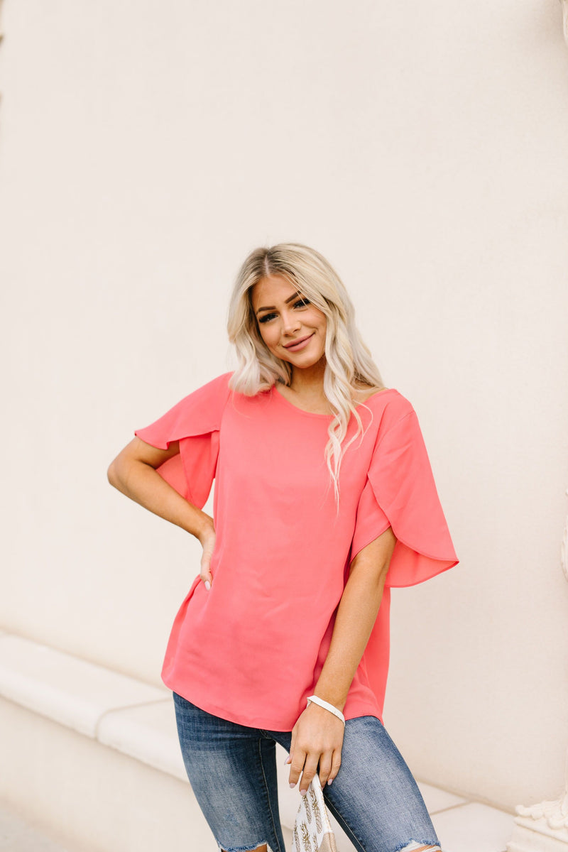 Tulip Sleeve Blouse In Coral-1XL, 2XL, 4-21-2020, Group A, Group B, Group C, Large, Medium, Plus, Small, Tops, XL-Womens Artisan USA American Made Clothing Accessories