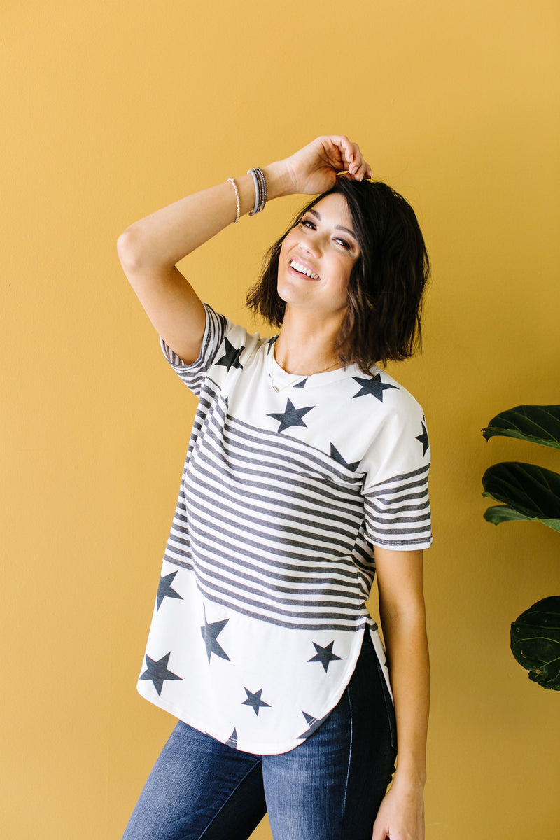 Stripes & Stars Black & White Top-1XL, 2XL, 3XL, 5-21-2020, Group A, Group B, Group C, Large, Medium, Plus, Small, Tops, XL, XS-Womens Artisan USA American Made Clothing Accessories