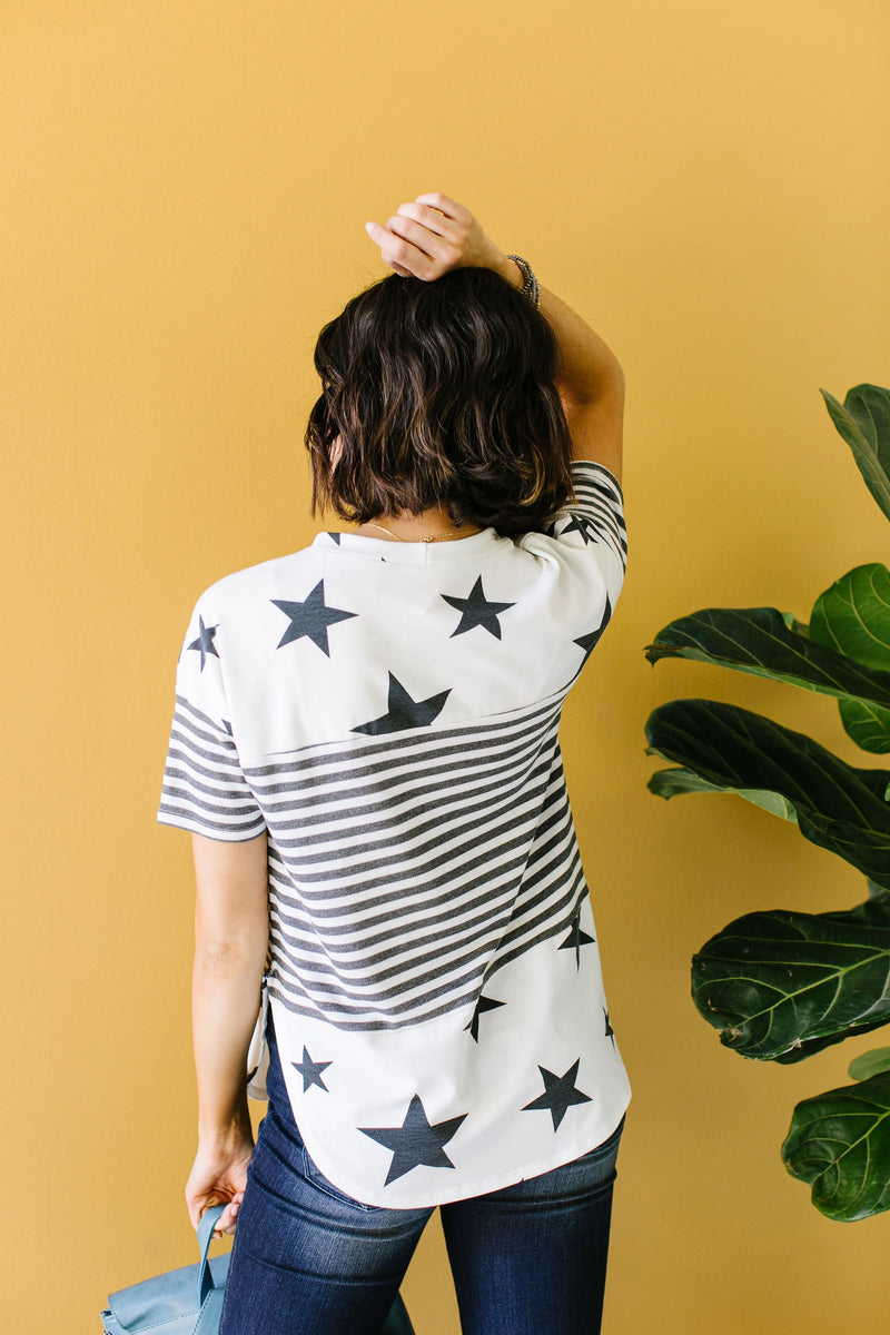 Stripes & Stars Black & White Top-1XL, 2XL, 3XL, 5-21-2020, BFCM2020, FeaturedJan21, Final Few Friday, Group A, Group B, Group C, Group D, Large, Medium, Plus, Small, Tops, XL, XS-Womens Artisan USA American Made Clothing Accessories